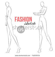 womens figure fashion sketch template designers stock vector