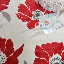 vogue poppies rugs vg02 in red free uk delivery the rug seller