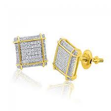 men diamond earrings 10k yellow gold diamond earrings 0 28cttw on square fancy mens