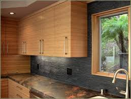 Laminate Kitchen Backsplash Kitchen Floating Bamboo Kitchen Cabinet With Black Mosaic Stone