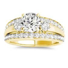 wide band engagement rings band engagement ring diamond side stones 14k yellow gold 0 75ct