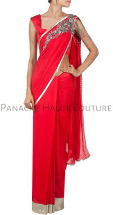 redcolor red color designer saree gown online u2013 panache haute couture