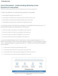 quiz worksheet understanding multistep linear equations inequalities jpg