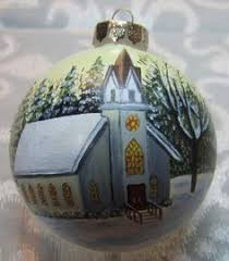 large hand painted czech glass ball christmas ornament with church