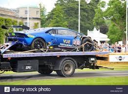 lamborghini truck a damaged lamborghini huracan super trofeo transported on the back