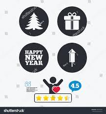 happy new year icon christmas tree stock vector 348554828