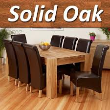 Home Full Solid Oak Dining Table Set With Chunky Legs Room - Oak dining room table chairs