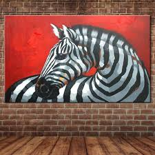 wall mural modern mural promotion shop for promotional wall mural zebra oil painting by hand painted modern animal canvas art acrylic paint artwork wall mural for home decor no frame