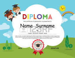 preschool certificates preschool elementary school kids diploma certificate template