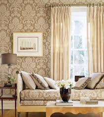 Elegant And Chic Living Rooms With Damask Wallpaper Rilane - Damask bedroom ideas