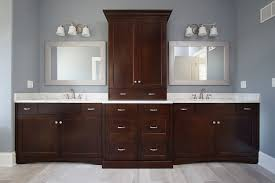 what color goes with brown bathroom cabinets master bathroom his vanity with cabinet tower