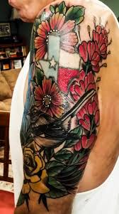 yellow flower tattoos texas wildflower 1 2 sleeve with bluebonnets indian paintbrush