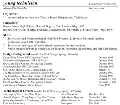 Musical Theater Resume Sample by Technical Theatre Resumes Part Two
