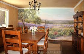 The Morgan Dining Room - hand painted wall mural lavender fields of southern france