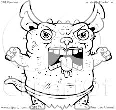 gremlins coloring pages cartoon clipart of an outlined angry pudgy green gremlin black