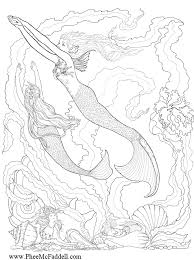 mermaid adults coloring free download
