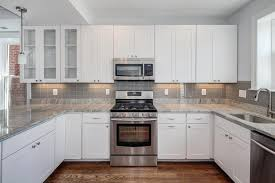 Kitchen With Backsplash Pictures Kitchen Fancy White Kitchen Cabinets With Grey Countertops