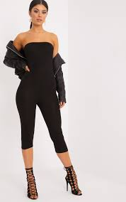 strapless jumpsuit black straplessjumpsuits strapless jumpsuit prettylittlething usa