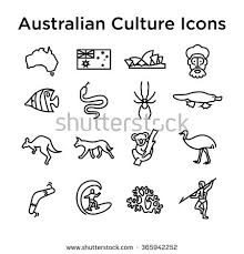 australian culture icons culture signs australia stock vector