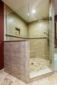 glass shower door half wall bathroom casual cream marble tile shower wall design and