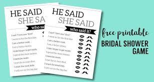 free bridal shower free printable wedding shower he said she said paper