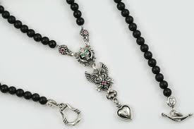 heart drop necklace images Gabriella drop heart winged cross skull black onyx beaded silver jpg