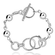 silver plated bangle bracelet images Fashion 925 silver plated circles chain trendy lady jpg