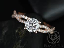 twist engagement ring rosados box 6 5mm gold f1 moissanite diamond