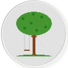 tree swing cross stitch pattern daily cross stitch