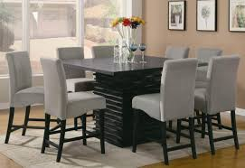 Square Dining Room Table For 4 Awesome Square Dining Table Granite Top Grey Fabric Upholstered