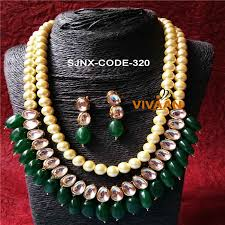 jewellery collar necklace images Satyam jewellery nx antique two layer of kundan and cream green jpg