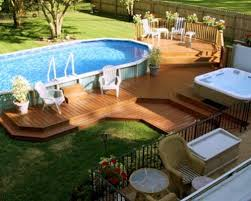 Backyard Landscaping Ideas With Above Ground Pool Deck Designs For Above Ground Swimming Pools Amazing Best 25