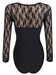 Plus Size Bodysuit Blouse Plus Size Lace Panel Long Sleeve Black Bodysuit U2013 Plus Trendy