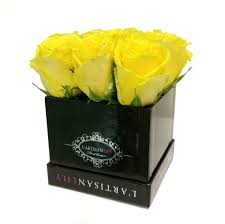 boxed roses yellow floral couture box in mclean va l artisan