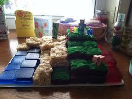 this was my version of minecraft cake jello rice crispy treats