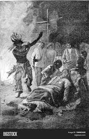 vintage witch illustration witch doctor performing his ritual dance on the sick from jules