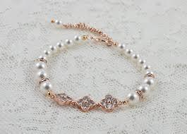wedding bracelet pearl images Rose gold swarovski pearls wedding bridal bracelet bridal jpg