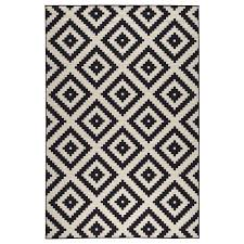 Area Rug Black And White Lappljung Ruta Rug Low Pile 6 7 X9 10 Ikea