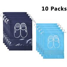 Yamiu 10 pcs shoe bags dust proof drawstring with window travel