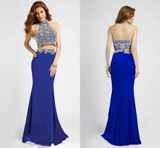 royal blue prom dresses two pieces high collar beads beading
