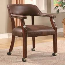 brown vinyl traditional office chair w casters u0026 nailhead trim