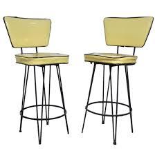 Modern High Kitchen Chairs Vintage Pair Mid Century Modern Wrought Iron Atomic Age Hairpin
