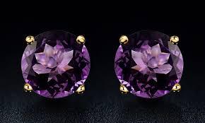 10k earrings up to 64 on 2 00 ctw amethyst stud earrings groupon goods