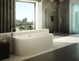 modern white stand alone tubs in the large bathroom jpg