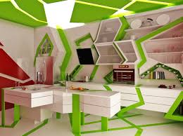 green white unique contemporary kitchen interior design ideas