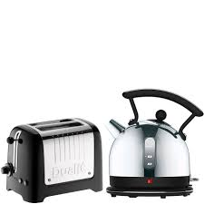 dualit dome kettle and 2 slot toaster bundle black homeware