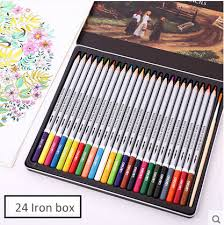 deli iron box of 24 pieces watercolor colored pencils best art