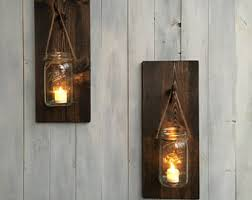 Jar Candle Wall Sconce Rustic Candle Sconce Etsy