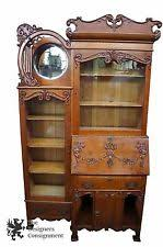 Antique Curio Cabinet With Desk Oak Secretary Ebay