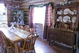 Vintage Display Cabinets Impressive Log Homes Decorated For Christmas Using Classic White
